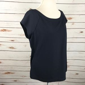 Doncaster Navy Blue Cap Sleeve Blouse Work Wear